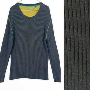 Robert Graham Grey Ribbed Cotton Multicolor V Knit